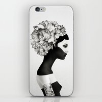 white iPhone & iPod Skins featuring Marianna by Ruben Ireland