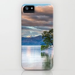 Lonely Tree In Lake Across Magnificent Mountain Range At Evening Red Reflection Ultra HD iPhone Case