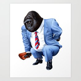 A gorilla tired from business Art Print