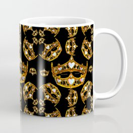 Queen of Hearts gold crown tiara scattered pattern by Kristie Hubler with black background Coffee Mug