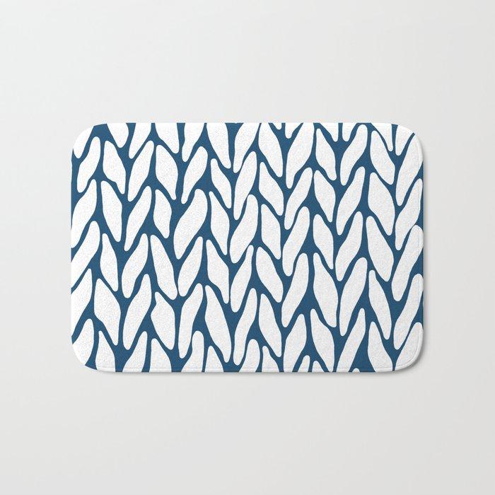 Hand Knitted Navy Bath Mat