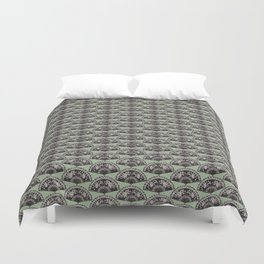 rows of Fans on mint Duvet Cover
