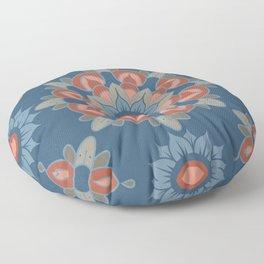 Large Flower Mandalas in Bold Indigo Blues Desert Reds Gray Floor Pillow