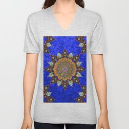 Gold Mandala in Blue Unisex V-Neck