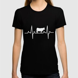 Cow Heartbeat Cattle Cow Animal Lover T-shirt