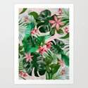 Tropical palm leaf with red flowers by chrissyink