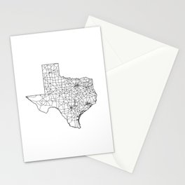 Texas White Map Stationery Cards