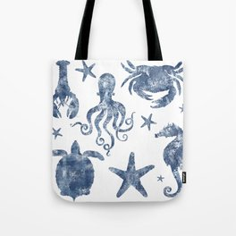 Delft Blue nautical Marine Life pattern, coastal beach Tote Bag