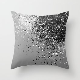 Sparkling Silver Gray Lady Glitter #1 #shiny #decor #art #society6 Throw Pillow