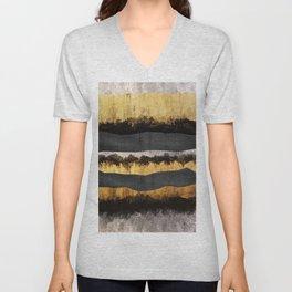 Golden Ocean Waves #1 #abstract #painting #decor #art #society6 Unisex V-Neck