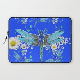 BLUE DRAGONFLIES WHITE DAISY FLOWERS  ART Laptop Sleeve