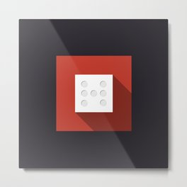 "Dice ""seven"" with long shadow in new modern flat design Metal Print"