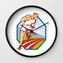 Marathon Runner Running Race Track Retro Wall Clock
