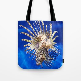 Poisonous lionfish in blue water sea Tote Bag