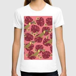 Colorful Monstera, Frangipani and Toucan Pattern Q T-shirt