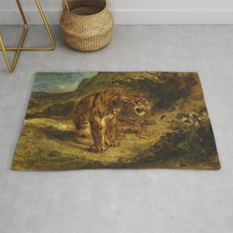 """Eugène Delacroix """"Tiger on the Look-Out or Growling Tiger"""" Rug"""