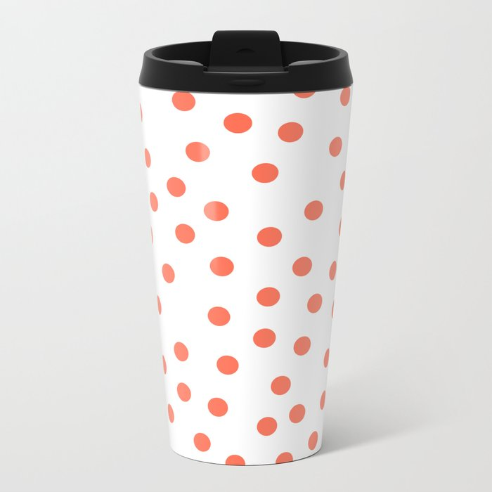 Simply Dots in Deep Coral on White Metal Travel Mug