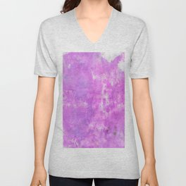 Hand painted neon pink purple watercolor Unisex V-Neck