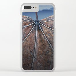 Autumn leaf with Smokey Mountain Vista Clear iPhone Case