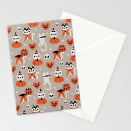 Halloween Kitties (Gray) Stationery Cards