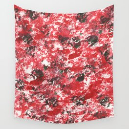 Red Camo Pattern Print Acrylic Artwork Black Splatter Painting Wall Tapestry