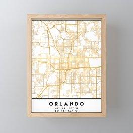 ORLANDO FLORIDA CITY STREET MAP ART Framed Mini Art Print