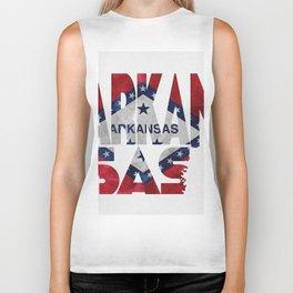 Arkansas Typographic Flag Map Art Biker Tank