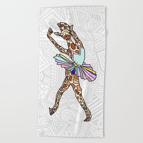 Giraffe Ballerina Tutu Beach Towel