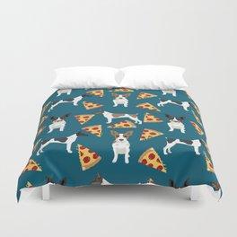 Rat Terrier pizza dog breed pet portrait dog pattern dog breeds gifts for dog lovers Duvet Cover