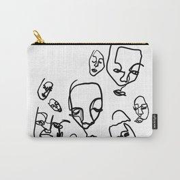 Blind Contour Faces Carry-All Pouch
