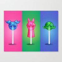 powerpuff girls Canvas Prints featuring Powerpop Girls by Jimmy Sumner