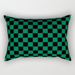 Black and Cadmium Green Checkerboard Rectangular Pillow