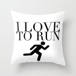 I Love to Run with Running Stick Figure in Black Throw Pillow
