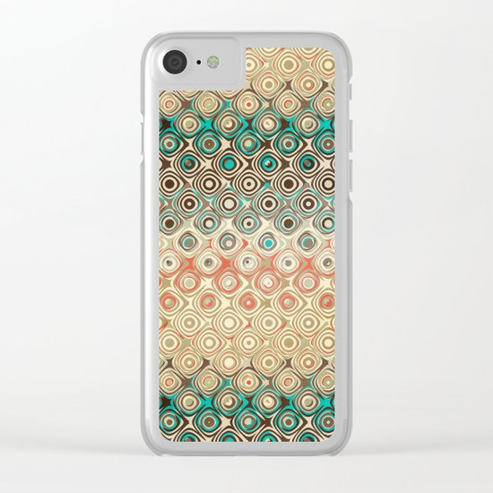 Retro Circles Pattern Clear iPhone Case