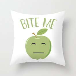 Cool Emoticon Bite Me Apple Throw Pillow