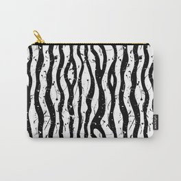 paint splatter black and white zebra stripes Carry-All Pouch