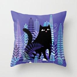 The Ferns (Black Cat Version) Throw Pillow