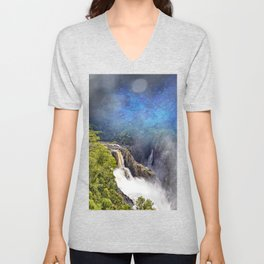 Wild waterfall in abstract Unisex V-Neck