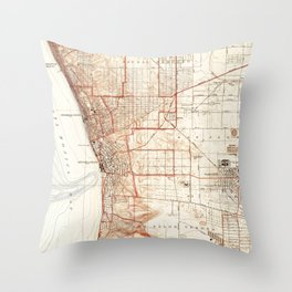 Vintage Map of Redondo Beach & Torrance CA (1934) Throw Pillow