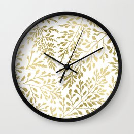 Gold Leaves Wall Clock