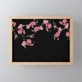 Cherry Flowers with black background Framed Mini Art Print