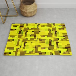 Bright tile of yellow intersecting rectangles and gold bricks. Rug