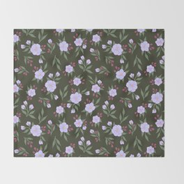 Lilac Flowers on Green - Floral Pattern Throw Blanket