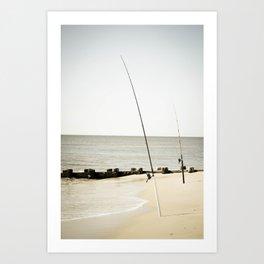 Fishing at the Beach Art Print