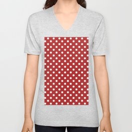 Small Polka Dots - White on Firebrick Red Unisex V-Neck