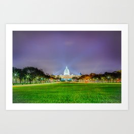 The Capitol Building At Night Art Print