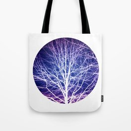 Surreal nature photography of a bare tree in purple and blue Tote Bag