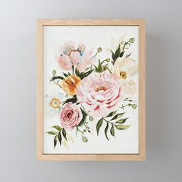 Loose Peonies & Poppies Floral Bouquet Framed Mini Art Print