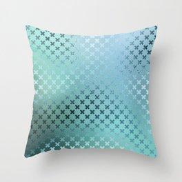 Minimalist X Pattern in Iridescent Blue 23 Throw Pillow