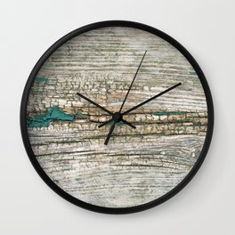 Rustic Wood Ages Gracefully - Beautiful Weathered Wooden Plank - knotty wood weathered turquoise pa Wall Clock